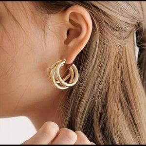Gold Triple Hoop Earrings.